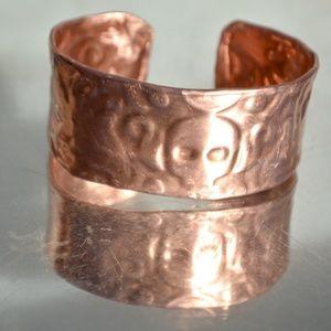 Mens Copper Embossed Cuff Bracelet Skull Handmade